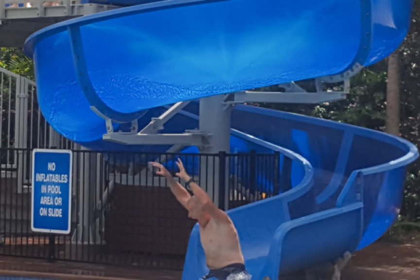 """Big Boys"" take over the water slide"